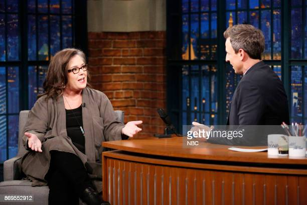 Actress Rosie O'Donnell talks with host Seth Meyers during an interview on November 2 2017
