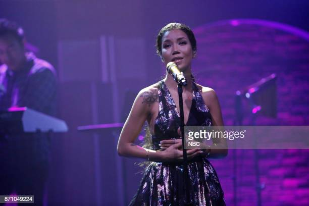 Musical guest Jhené Aiko performs on November 3 2017