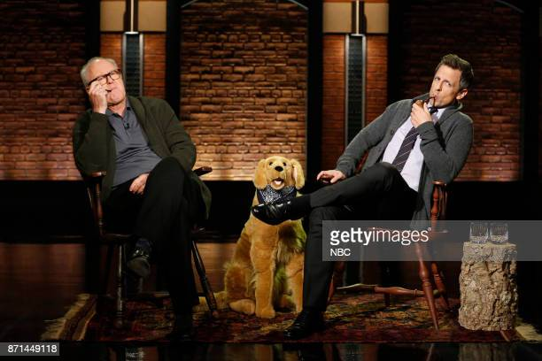 Actor John Lithgow and host Seth Meyers during 'Back In My Day' sketch on November 7 2017