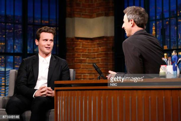 Actor Jonathan Groff talks with host Seth Meyers during an interview on November 7 2017