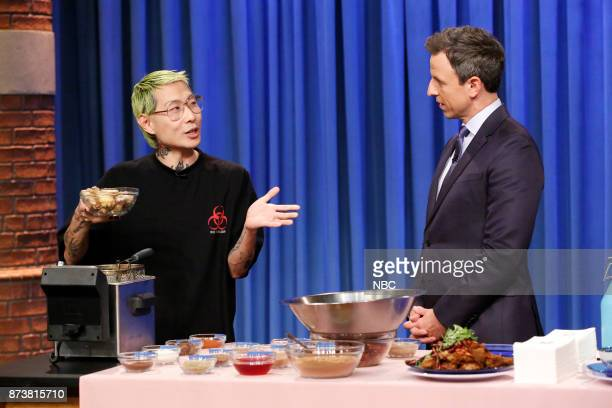Chef Danny Bowien talks with host Seth Meyers during a cooking segment on November 13 2017
