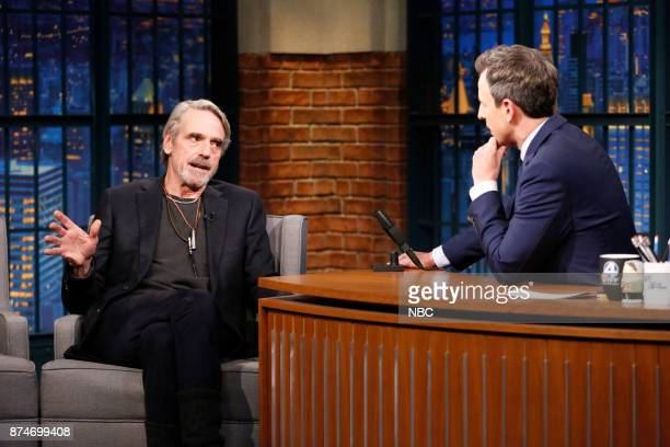 Actor Jeremy Irons talks with host Seth Meyers during an interview on November 15 2017