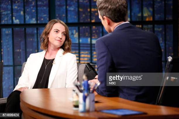 CEO of Callisto Jessica Ladd talks with host Seth Meyers during an interview on November 15 2017