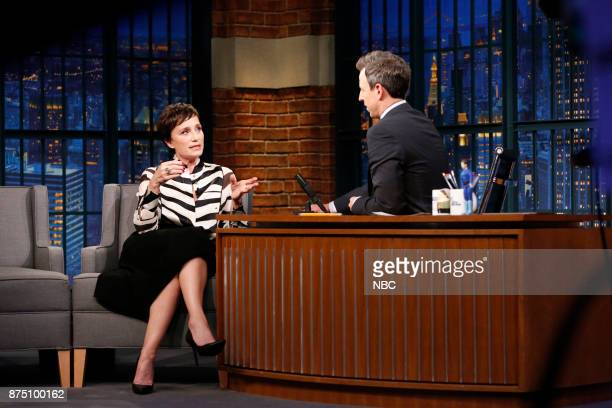 Actress Kristin Scott Thomas talks with host Seth Meyers during an interview on November 16 2017