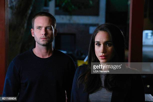 SUITS 'PSL' Episode 610 Pictured Patrick J Adams as Michael Ross Meghan Markle as Rachel Zane