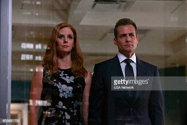 SUITS 'PSL' Episode 610 Pictured Sarah Rafferty as Donna Paulsen Gabriel Macht as Harvey Specter
