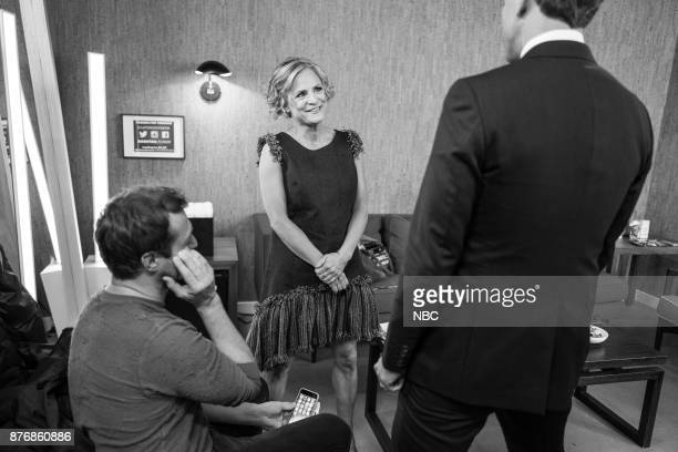 MEYERS Episode 611 Pictured Actress Amy Sedaris talks with host Seth Meyers backstage on November 20 2017