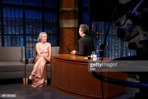Actress Saoirse Ronan talks with host Seth Meyers during an interview on November 28 2017