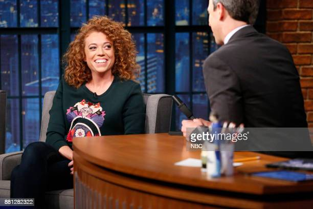 Comedian Michelle Wolf talks with host Seth Meyers during an interview on November 28 2017