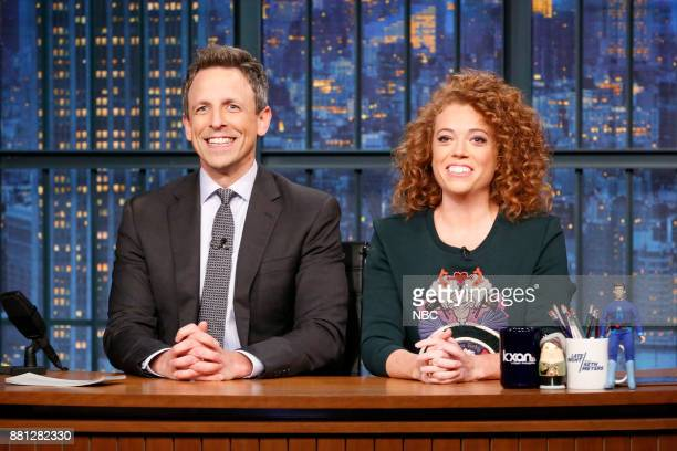 Host Seth Meyers and comedian Michelle Wolf during the Bad Sponsors sketc on November 28 2017