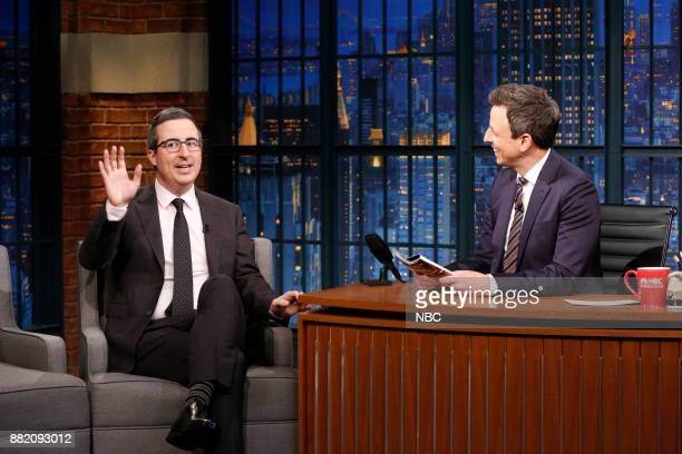 Episode 617 -- Pictured: Comedian John Oliver talks with host Seth Meyers during an interview on November 29, 2017 --