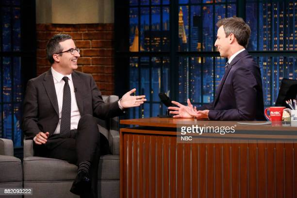 Comedian John Oliver talks with host Seth Meyers during an interview on November 29 2017