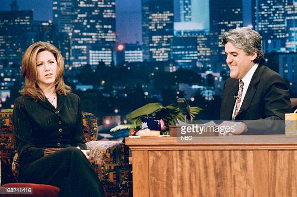 Actress Jennifer Aniston during an interview with host Jay Leno on January 25 1995