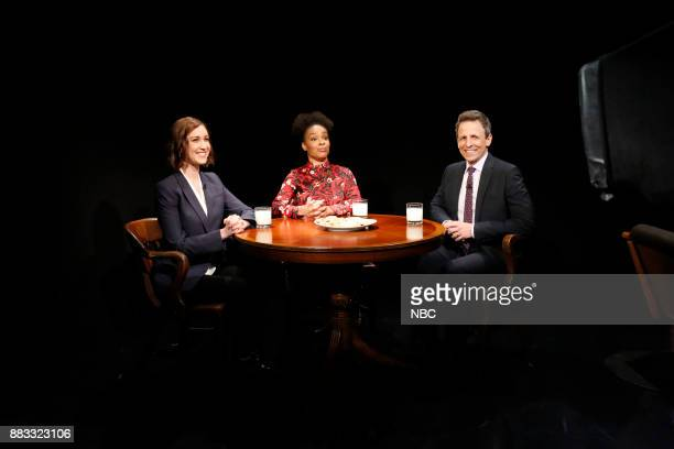 Amber Ruffin host Seth Meyers and Ally Hord during 'Point Counter Point' sketch on November 30 2017