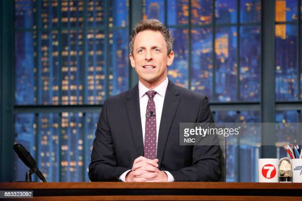 Host Seth Meyers at his desk on November 30 2017