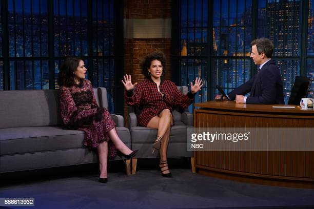 Abbi Jacobson and Ilana Glazer talk to host Seth Meyers during an interview on December 5 2017