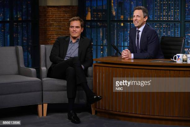 Actor Michael Shannon talks with host Seth Meyers during an interview on December 5 2017