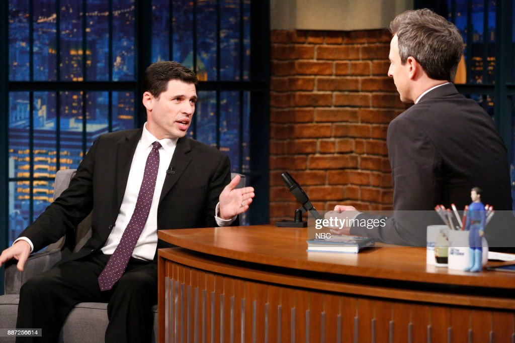 Author Max Brooks talks with host Seth Meyers during an interview on December 6, 2017 --
