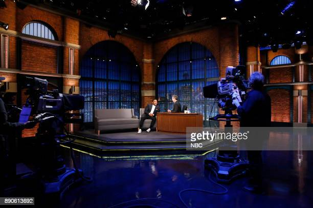 Actor Anthony Anderson talks with host Seth Meyers during an interview on December 11 2017