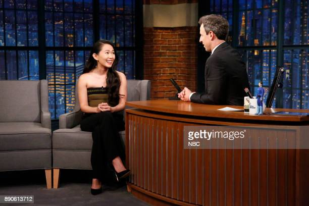 Actress Hong Chau talks with host Seth Meyers during an interview on December 11 2017