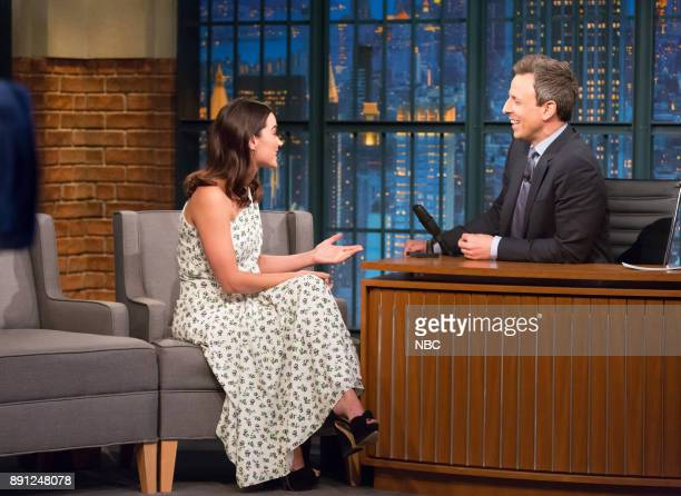 Actress Jenna Coleman during an interview with host Seth Meyers on December 12 2017