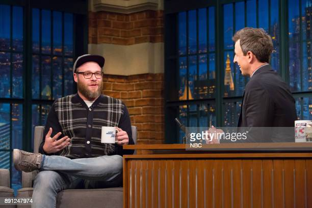 Comedian Seth Rogen during an interview with host Seth Meyers on December 12 2017