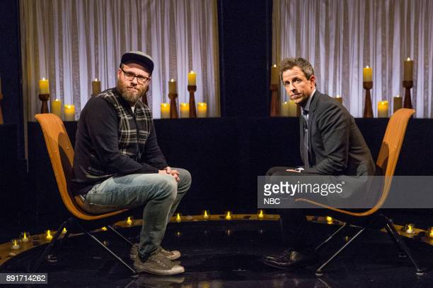 Comedian Seth Rogen host Seth Meyers during 'Seth and Seth Clean the Air' on December 12 2017