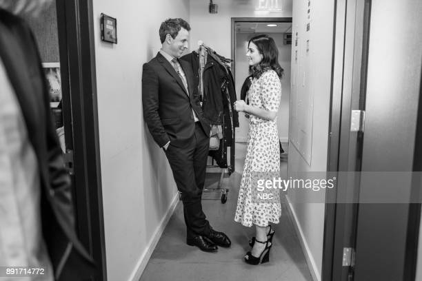 MEYERS Episode 624 Pictured Host Seth Meyers talks with actress Jenna Coleman on December 12 2017