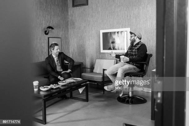 MEYERS Episode 624 Pictured Host Seth Meyers talks with comedian Seth Rogen on December 12 2017
