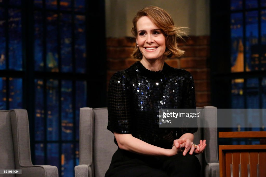 "NBC's ""Late Night With Seth Meyers"" With Guests Sarah Paulson, Judd Apatow, Grant Morrison"