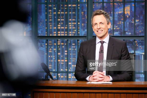 Host Seth Meyers at his desk on December 14 2017