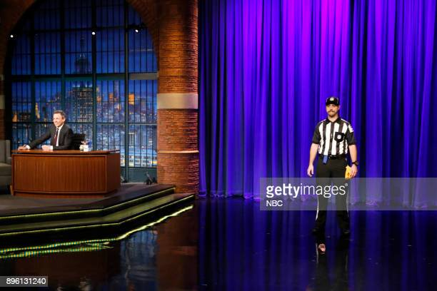 Host Seth Meyer and Ian Morgan as NFL referee during the 'Late Night Casserole' sketch on December 19 2017