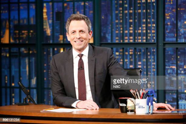 Host Seth Meyers at his desk on December 19 2017