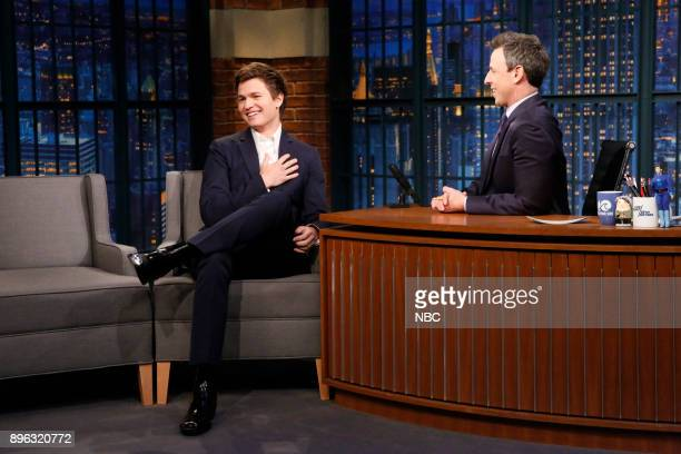 Actor Ansel Elgort during an interview with host Seth Meyers on December 20 2017