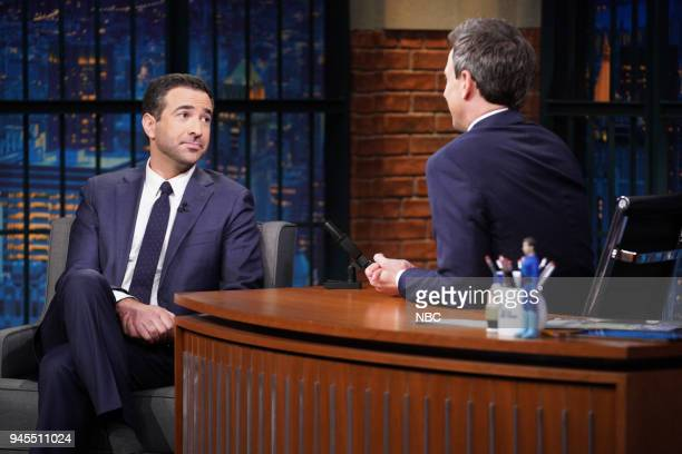 Journalist Ari Melber during an interview with host Seth Meyers on April 12 2018