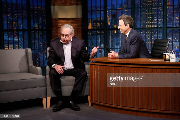 Comedian Lewis Black during an interview with host Seth Meyers on January 9 2018