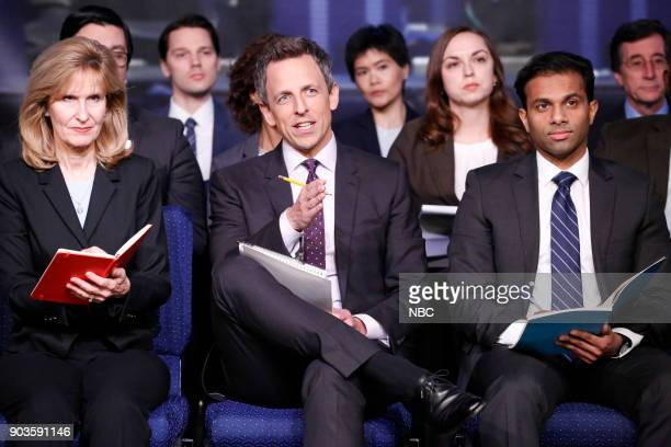 Host Seth Meyers during the Late Night White House Press Briefing sketch on January 10 2018