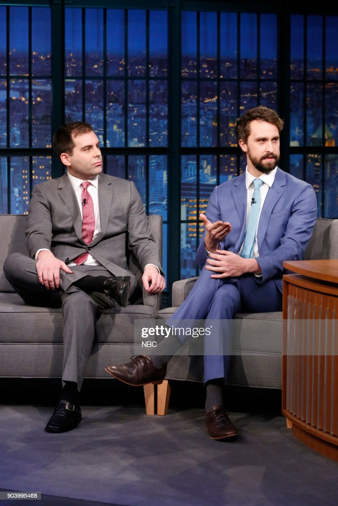 Actors Jake Weisman and Matt Ingebretson during an interview on January 11, 2018 --