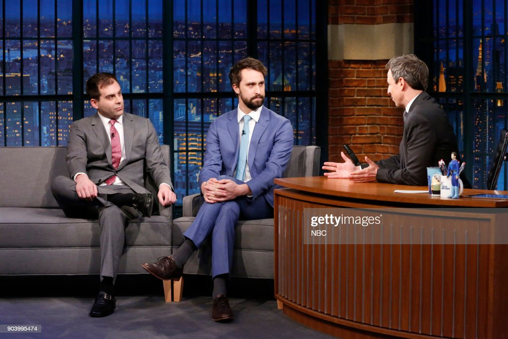 Actors Jake Weisman and Matt Ingebretson during an interview with host Seth Meyers on January 11, 2018 --