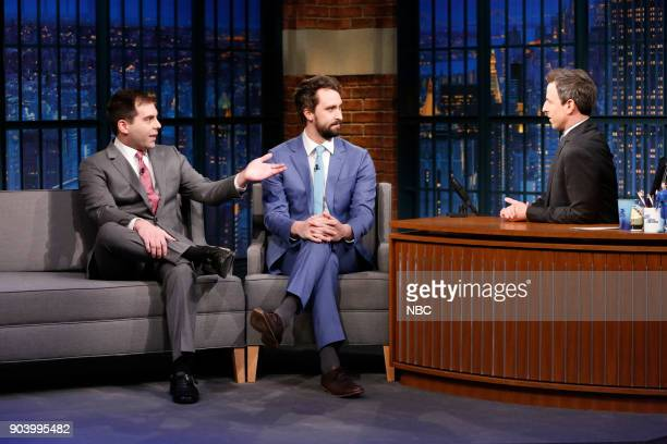 Actors Jake Weisman and Matt Ingebretson during an interview with host Seth Meyers on January 11 2018
