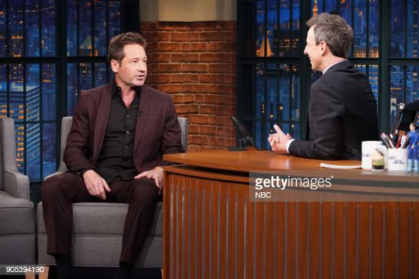 Actor David Duchovny during an interview with host Seth Meyers on January 15 2018