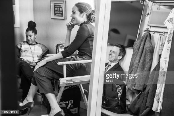 MEYERS Episode 634 Pictured Actress Megan Boone talks with host Seth Meyers backstage on January 15 2018