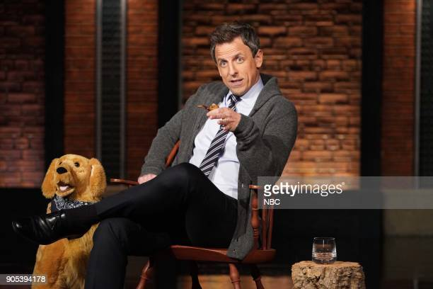 Host Seth Meyers during the sketch 'Back in My Day' on January 15 2018