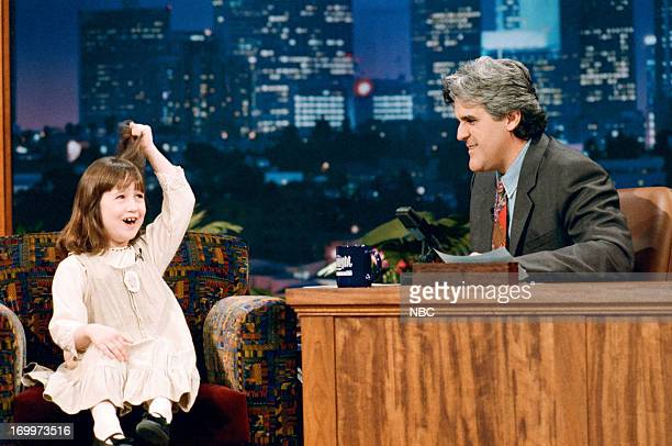 Actor Mara Wilson during an interview with host Jay Leno on February 17 1995