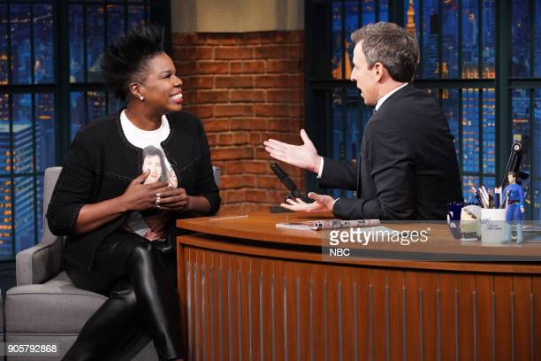 Comedian Leslie Jones during an interview with host Seth Meyers on January 16 2018