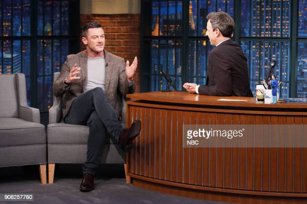 Actor Luke Evans during an interview with host Seth Meyers on January 17 2018