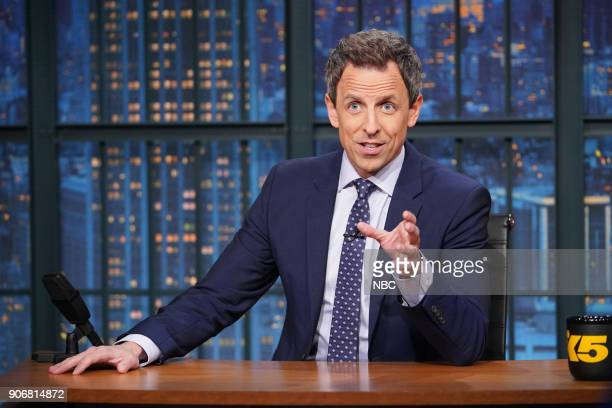 Host Seth Meyers at his desk on January 18 2018