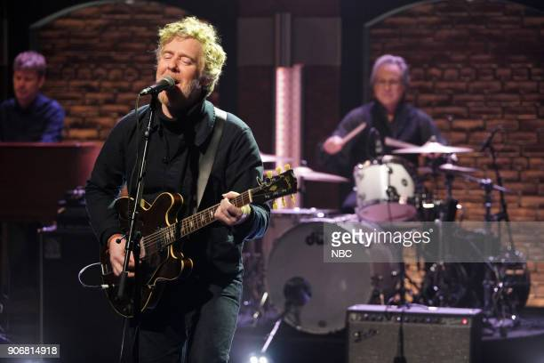Musical guest Glen Hansard with band member Max Weinberg perform on January 18 2017