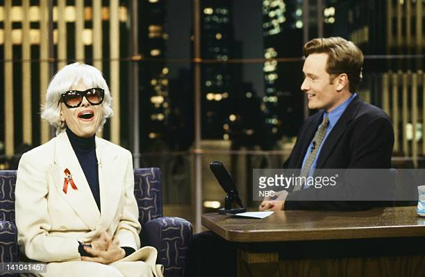 Actress/comedian Carol Channing host Conan O'Brien on August 20 1996 Photo by Norman Ng/NBC/NBCU Photo Bank