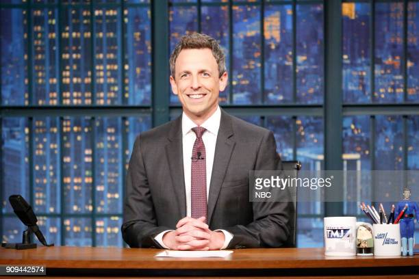Host Seth Meyers desk on January 23 2018